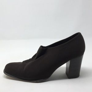 EVAN PICONE BROWN FABRIC HEELS 7.5M